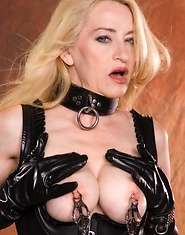 Kinky old broad in leather