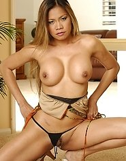 Busty asian mommy Mika Kani strips and shows her gorgeous body