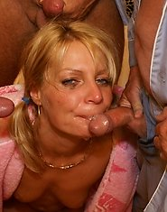Horny young blondie gets it on with a bunch of old guys